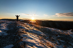 Greetings (DobriMv) Tags: new blue sky woman mountain snow nature field sunrise landscape outdoors day year bulgaria   rhodope   ortsevo