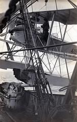 "A damaged Friedrichshafen FF.33a being loaded aboard the converted trawler ""Hermann Siebert"" (✠ drakegoodman ✠) Tags: aircraft postcard aeroplane worldwarone sailor ww1 damaged 1wk greatwar firstworldwar seaplane worldwar1 floatplane weltkrieg rppc matrose feldpost"