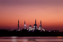 Sheikh Zayed Mosque (_SAMSAL_) Tags: sunset shadow sea water dark al waves gulf dusk minaret uae grand mosque zayed dome abu dhabi sheikh maqta