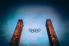 Twin Columns (Fairy_Nuff (new website - piczology.com!)) Tags: berlin clock logo stadium five towers twin rings olympic olympiastadion columnstwo