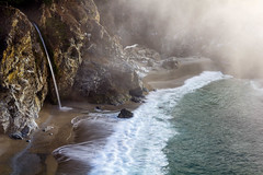 McWay (Kirk Lougheed) Tags: ocean california statepark sea sky usa mist seascape water fog landscape coast waterfall unitedstates pacific outdoor shoreline bigsur pacificocean shore juliapfeifferburnsstatepark mcwayfalls juliapfeifferburns