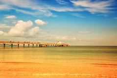 Binz - Rgen (KJ Photographie) Tags: blue sea sky beach nature water clouds sunrise germany landscape deutschland boot pier boat sand nikon meer wasser ship fineart natur himmel wolken blau rgen landschaft sonnenaufgang schiff binz