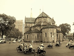 Saigon Notre-Dame Cathedral,  (Nh th c B Si Gn) (P.C. Alice) Tags: street travel roof church sepia architecture nikon asia religion vietnam hdr 2014 p300 favorites30 buddharupa nikonp300