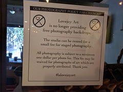 No free photography backdrops sign, labyrinth, The Last Bookstore, Downtown LA, Los Angeles, California, USA (gruntzooki) Tags: california ca usa signs sign cali photography la losangeles sticks cal dtla selfie lastbookstore