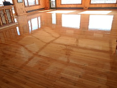Sand and finish. Maple floors at the Whiteface Club in Lake Placid, NY. (SuperiorFloors) Tags: club floors flooring whiteface hardwood