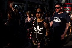 Adidas (Gary Kinsman) Tags: light white london hat sunglasses shopping evening bright candid crowd streetphotography guitars tshirt streetlife shades adidas oxfordstreet w1 westend consumerism oxfordcircus lateafternoon 2016 fujifilmx100t fujix100t