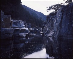 (bensn) Tags: mountains reflection mamiya film water japan river rocks medium format provia nagano f4 80mm 100f kiso 7ii nezamenotoko