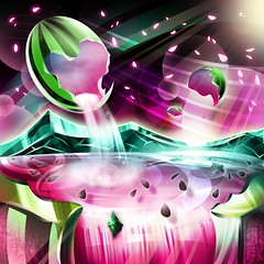 WATERMELONATION  art by  ZEPHOS  ( TORLEY ) Tags: world pink green vintage logo heart nation retro ring seeds watermelon cover scifi imagination analogue universe branding rogerdean sydmead zephos xynthica instagram freethephotos