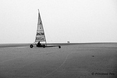 Sailing on sand...... [B&W edition] (Princessa Pea) Tags: 2002 film analog pentaxmz5n fujisuperiareala blackandwhite bw beach sailing sand