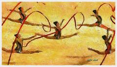 Rhythmic Gymanstics Gold (Leo Bar) Tags: gymnastics goldmedalists european champions painting texture textura artistico ballet leobar pixinmotion ribbons hoops rhythmic colorful synchronized artdigital netartii