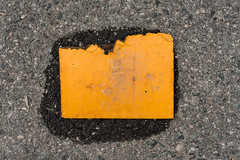 A Yellow Piece (pni) Tags: yellow trash suomi finland helsinki pavement surface helsingfors plywood skrubu pni whatremains pekkanikrus