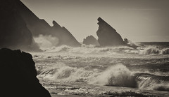 West Coast * The fury (Jose Antonio Pascoalinho) Tags: ocean sea blackandwhite seascape beach portugal nature water monochrome weather landscape seaside rocks waves outdoor sintra cliffs geo westcoast atlanticocean praiadaadraga geologic zedith