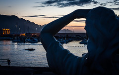 Au Loin - Puerto de las Nieves - Gran Canaria (Un regard en photo - Pierre Photos) Tags: las blue art port canon de puerto soleil aqua eau au january coucher espana hour gran canaries janvier espagne loin canaria januar status artistique nieves canarie 2016