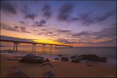 Pont del petroli (antoniocamero21) Tags: barcelona color marina puente mar agua foto sony playa paisaje amanecer pont catalunya rocas larga badalona exposicin petroli