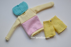 Outfit for Pullip (ronmielshop) Tags: sweater outfit doll clothes short trousers pullip sweatshirt poisongirl yellowandpink ronmiel ronmielshop ronmieldolls