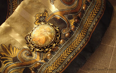 Fall scarf (Jill Farmer) Tags: fashion scarf brooch jewelry