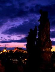 Prague Sunset (adam patrick) Tags: sunset castle statue clouds prague charlesbridge