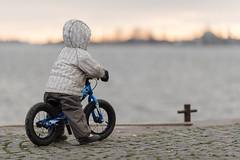 Hugo looking at the sunrise (Mikko Miettinen) Tags: boy sea sunrise finland helsinki little balticsea balancebike