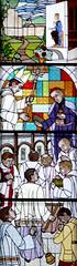 EL COLLELL - ESGLESIA (beagle34) Tags: iglesia girona catalunya monasterio vidrieras vidriera mieres 155 garrotxa monastir espanya esglesia vitrall vitralls elcollell panasonicfz1000