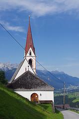 St. Quirin Im Sellrain (David J. Greer) Tags: summer mountain mountains alps church weather austria countryside nice outdoor country hill entrance steeple alpine hillside alp tyrol steep tyrollean