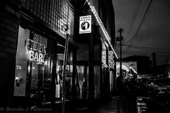 Vera Pizza Napoletana (Culinary Fool) Tags: seattle november bw reflection window sign bar night dark square restaurant washington mural neon wave georgetown pole pizza sidewalk wires deli wa 2014 culinaryfool 2470mm28 viatribunali brendajpederson hitchcockdeli2