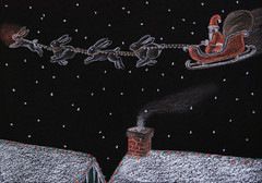 Rabbit, with Your Nose So Bright (theothernate) Tags: santa christmas chimney black bunnies art night dark stars holidays rooftops drawing rednose rabbits sleigh coloredpencil