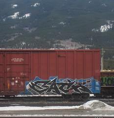 EACH (YardJock) Tags: railroad outdoors graffiti tracks boxcar rolling take5 freighttrain bsm moniker benching paintedsteel benchreport
