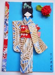 ACEO36 - Mikako (tengds) Tags: blue red white flower green card aceo kimono obi umbrellas artcard papercraft japanesepaper washi ningyo handmadecard chiyogami yuzenwashi fabricflower japanesepaperdoll washidoll origamidoll kimonodoll tengds embossedyuzenwashi
