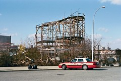 Coney Island, NYC, November 2000 (David Rostance) Tags: newyork ford brooklyn coneyisland condemned amusementpark firedepartment crownvictoria
