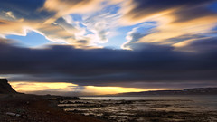 the storm came with sunset (lunaryuna) Tags: longexposure sunset sky panorama storm mountains landscape coast iceland sundown dusk le fjord lunaryuna nightfall westfjords remaininglight hrutafjordur cloudscsape