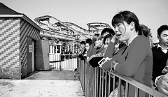 The Yellow Monster 1/32 (johey24) Tags: china blackandwhite bw fun shanghai expressions emotions rollercoasters amusementparks modernchina cherryblossomfestival joyrides humanfaces humanemotions peoplehavingfun guchen humanexpressions wonderfulchina turningtummyrides guchenpark bwhumanemotions