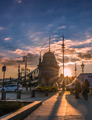Sunset in Liberty bridge (Vagelis Pikoulas) Tags: city winter sunset people sun canon landscape europe hungary cityscape view budapest january tokina sunburst 6d 2016 1628mm