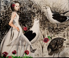 Dreams (yantrax) Tags: woman seagulls abstract art colors painting artist acrylic surreal abstrakt