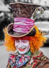 Bushy Hair (jnrbrad) Tags: street travel orange london smile photoshop canon happy photography 50mm cool market vibrant hats colourful f18 performers wacky madhatter aliceinwonderland campden flickrtravelaward