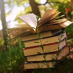 Knowledge (karmakerosene) Tags: light summer sunlight nature grass 35mm vintage square nikon pages bokeh antique books d7000 nikond7000