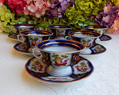 Paris Porcelain Cups & Sauces Hand Panted Flowers ~ Cobalt Blue Gold (Donna's Collectables) Tags: flowers blue paris gold hand cups porcelain ~ sauces cobalt panted