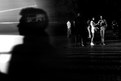 (ajhenriques) Tags: street city people blackandwhite white abstract black building monochrome lines car silhouette lights movement shadows darkness outdoor lisboa lisbon structure human slowshutter