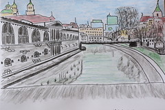 Urban Sketching: View from the Dragon Bridge (Cobra_11) Tags: urbansketching sketch drawnonlocation ljubljana slovenia staedtler pigmentliner watercolourpencils pen clutchpen canon canoneos canoneos450d digitalrebelxsi ef50mmf18ii ef50mm118ii