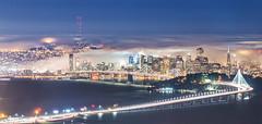 SF city invaded by fog (Sribha Jain) Tags: sf sanfrancisco ca california us skyline karl fog night baybridge