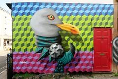 Birdo (JOHN19701970) Tags: birdo brighton streetart graff graffiti artist artwork aerosol spray paint laines august 2016 england uk wall mural bird sussex northlaines thelanes thelaines lanes alley street art 3d blocks bricks