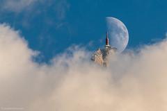 Demi quartier_1245 (upstairschamonix) Tags: chamonix mont blanc valley aiguille du midi moon summit azais sky clouds blue mountain high chamonixmontblanc
