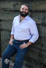 Zach (Levi Smith Photography) Tags: bear bears beard beards chest hair hairy man jeans handsome brown oxford fashion pose fence