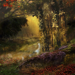 My fairytale forest. (BirgittaSjostedt) Tags: fantasy forest river wood tree mysterious fairytale tale creation paint texture birgittasjostedt outdoor serene scene netart magicunicornverybest ie