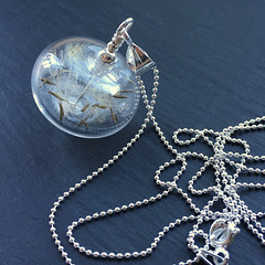 'Wishful' Necklace (Beads By Laura) Tags: art beads glass handmade lampwork beadsbylaura laurasparling necklace sterlingsilver dandelion clock wish seeds
