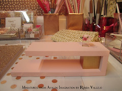 I did some very inexpensive DIY to my desk area downstairs. It's very motivational to have a bright, organized space to work. The back is just foam core, because my late sister's dollhouse is behind it, and I can remove the foam core to access it. (wpnschick) Tags: desk deskaccessories pinkandgold rosegold hollywoodregency barbiefurniture modernminiature miniaturehollywoodregency