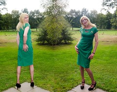 My green dress. (sabine57) Tags: stockings drag tv highheels dress cd crossdressing tgirl transgender tranny transvestite crossdresser crossdress nylons greendress travestie transvestism seamedstockings