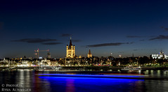 Great St. Martin Church (PhotoRys) Tags: city travel sunset church st night river germany landscape photography lights europe view martin great cologne rhine altewedrowki photorys