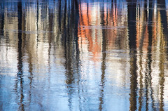 Winter Reflection IV (Pauline Brock) Tags: blue trees winter snow abstract reflection nature water river landscape scene