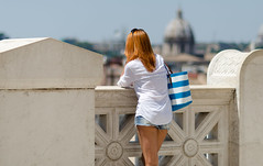 Red Over Rome (Just Ard) Tags: street red urban italy woman rome color colour roma rooftop girl skyline photography prime nikon italia terrace candid streetphotography 85mm redhead nikkor unposed lazio altaredellapatria primelens d7000 justard