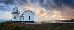 Tacking Point Lighthouse (Peter Knott) Tags: ocean sunset sky panorama lighthouse seascape architecture clouds australia olympus historic lee nsw coastline nik zuiko gitzo portmacquarie em1 rrs m43 cs6 tackingpoint 1260mm rrsbh40 gt2542l rrspanoelements